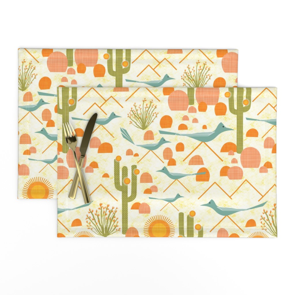 Lamona Cloth Placemats featuring Southwest Roadrunners and Ocotillo by vo_aka_virginiao
