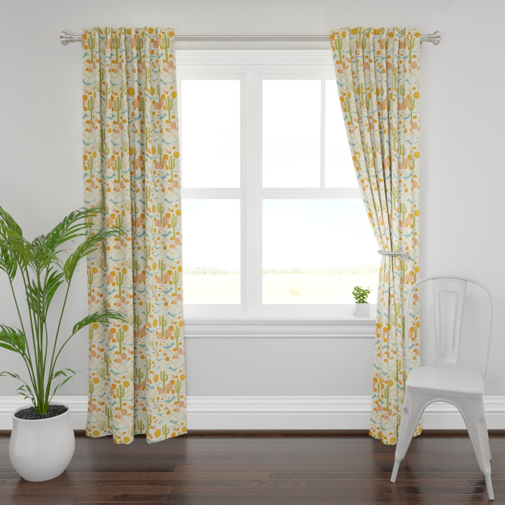 Plymouth Curtain Panel featuring Southwest Roadrunners and Ocotillo by vo_aka_virginiao