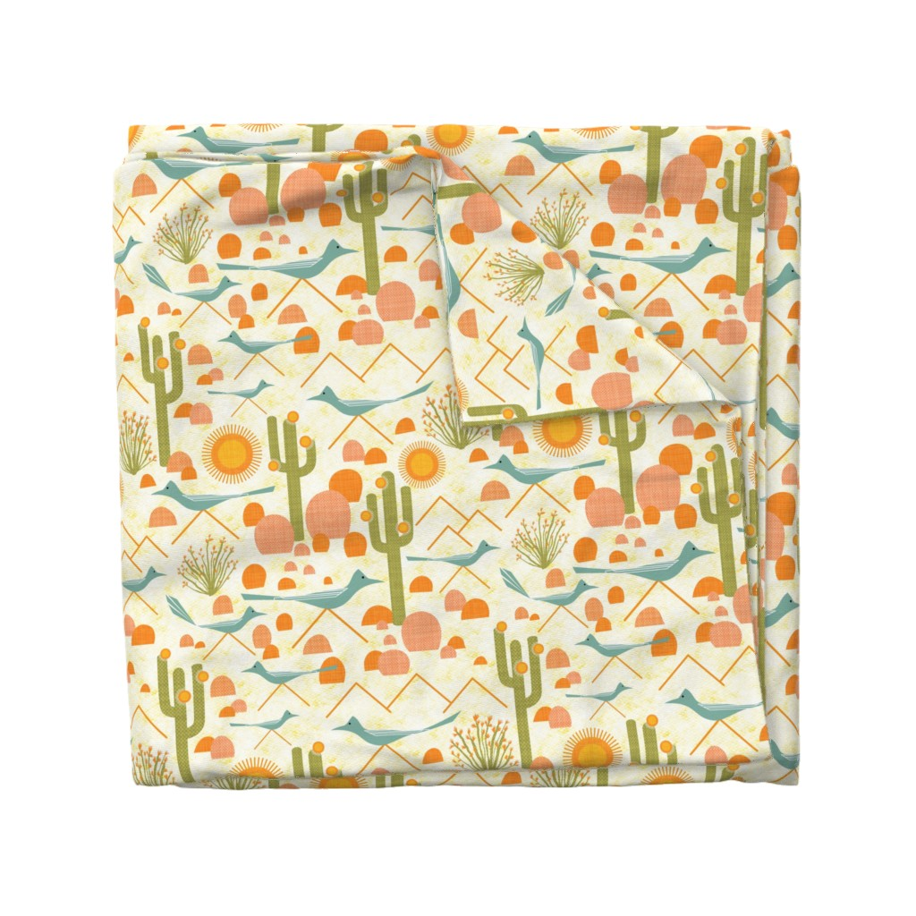 Wyandotte Duvet Cover featuring Southwest Roadrunners and Ocotillo by vo_aka_virginiao