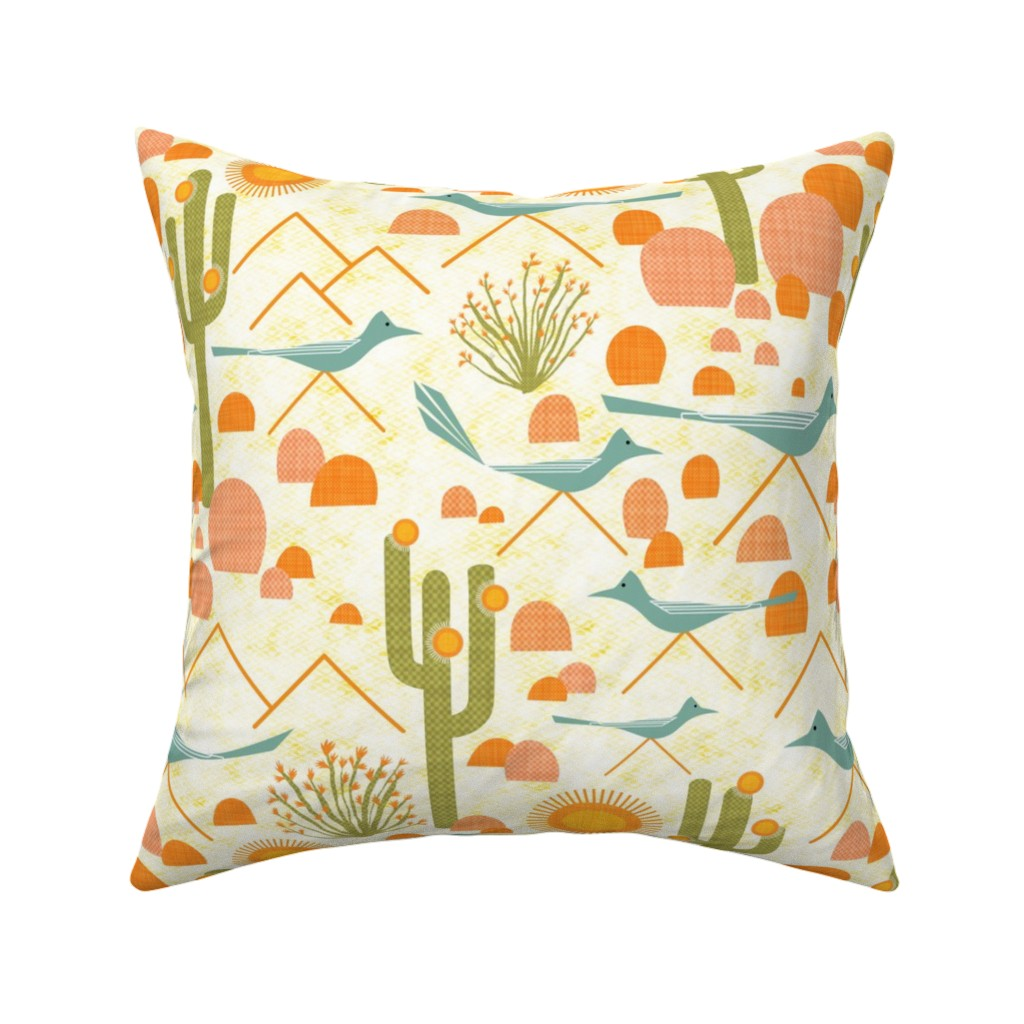 Catalan Throw Pillow featuring Southwest Roadrunners and Ocotillo by vo_aka_virginiao