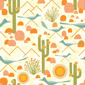 Southwest Roadrunners and Ocotillo