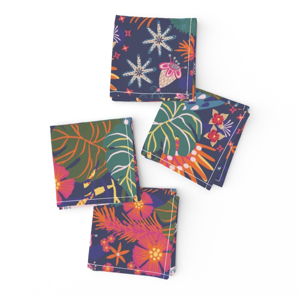 Frizzle Cocktail Napkins featuring jungle birds fly at night by rachaelschaferdesigns