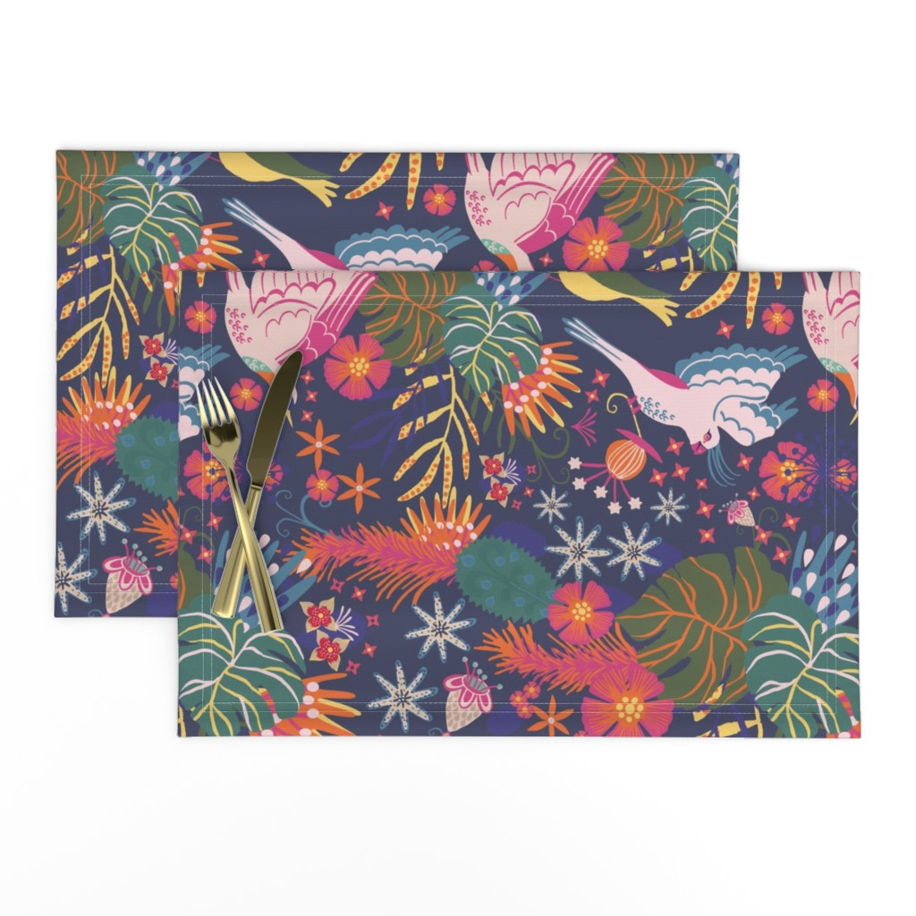 Lamona Cloth Placemats featuring jungle birds fly at night by rachaelschaferdesigns