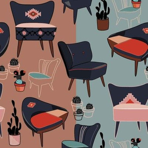 Desert MOD Cocktail Chairs and Cacti