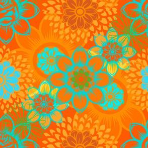 Orange Mod Floral
