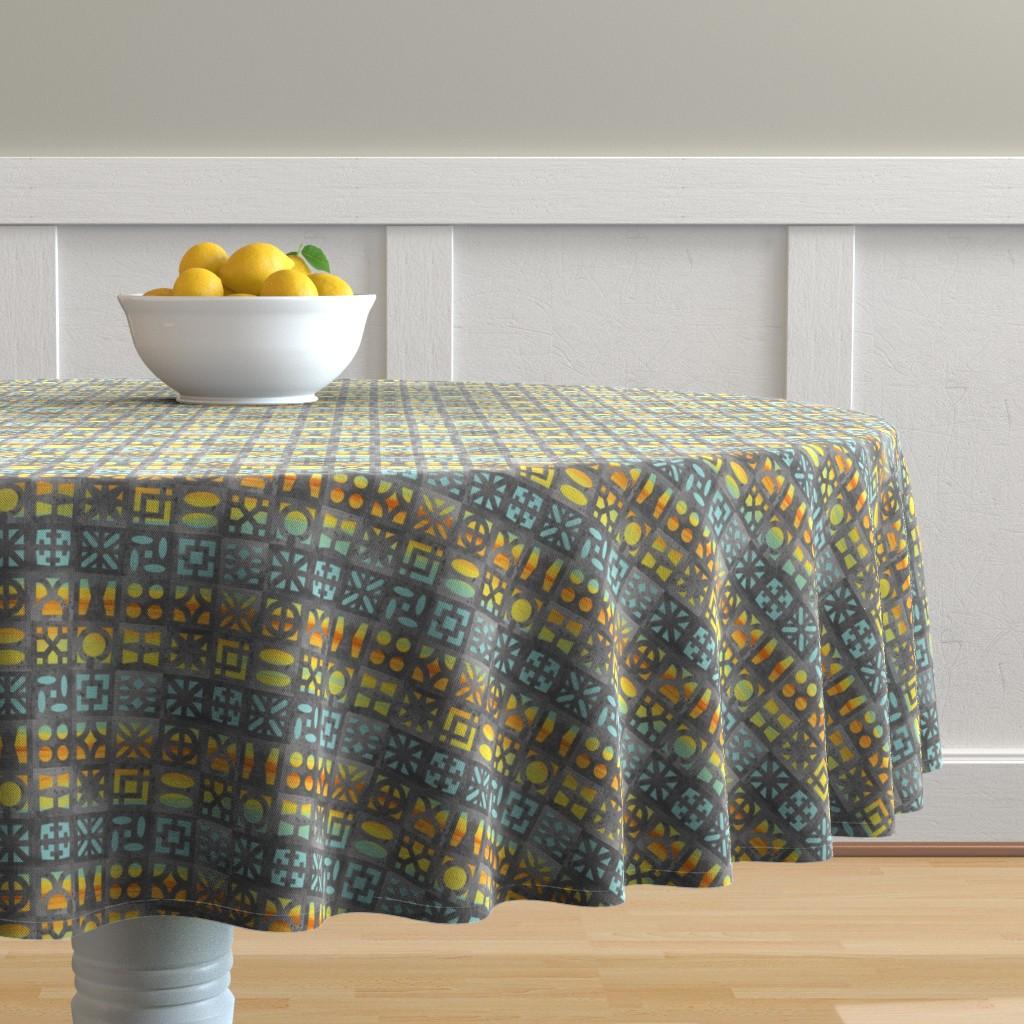 Malay Round Tablecloth featuring Desert Breeze Blocks of Phoenix by m_harrison_design
