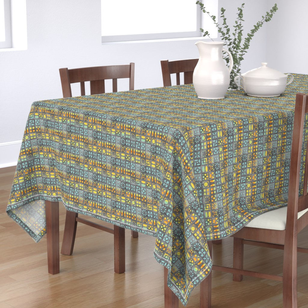 Bantam Rectangular Tablecloth featuring Desert Breeze Blocks of Phoenix by m_harrison_design