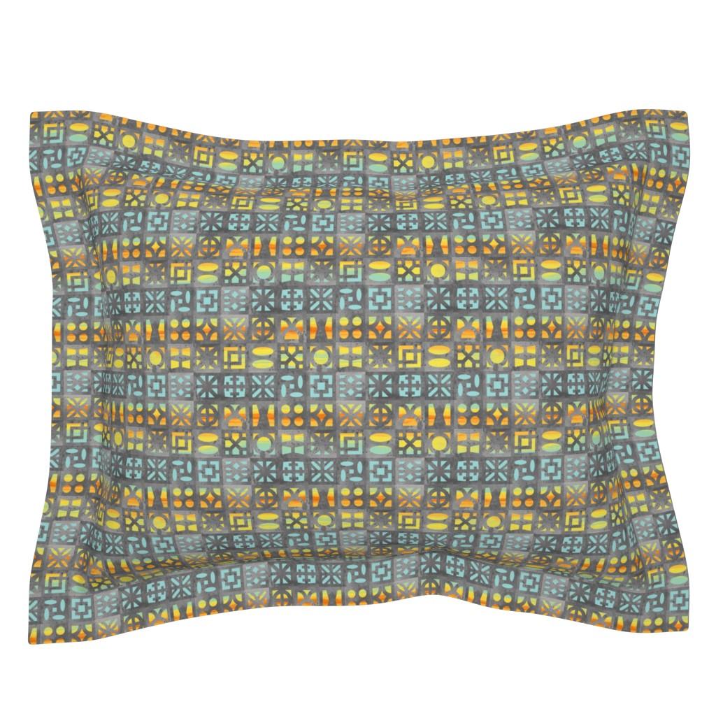 Sebright Pillow Sham featuring Desert Breeze Blocks of Phoenix by m_harrison_design