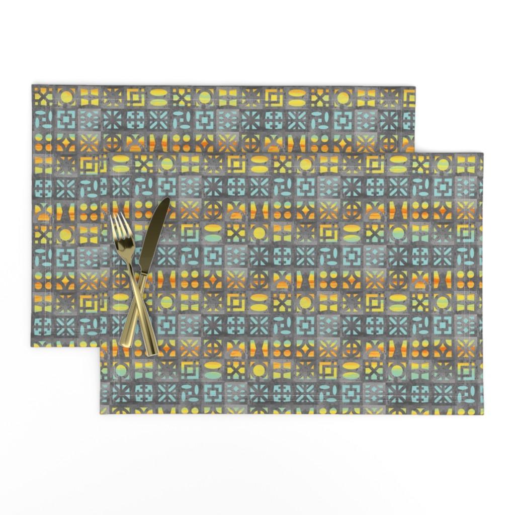 Lamona Cloth Placemats featuring Desert Breeze Blocks of Phoenix by m_harrison_design