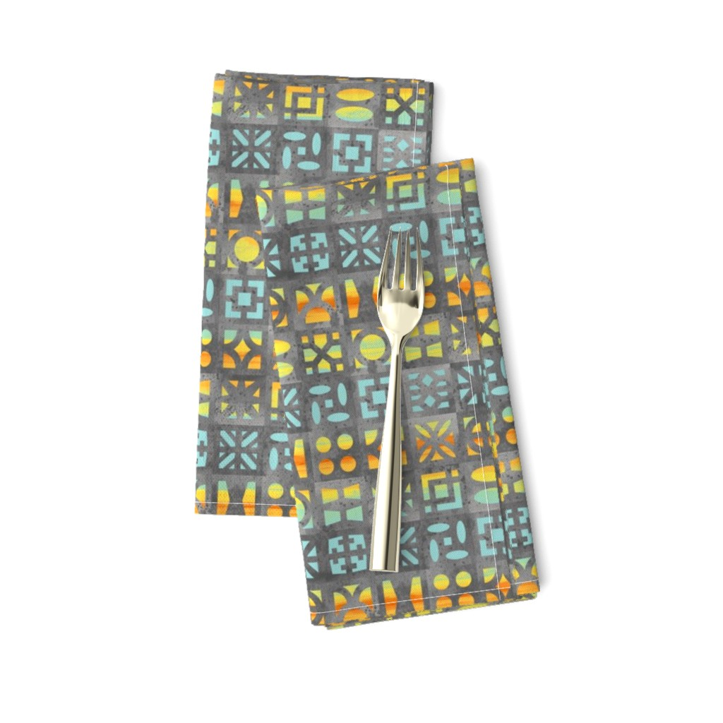 Amarela Dinner Napkins featuring Desert Breeze Blocks of Phoenix by m_harrison_design