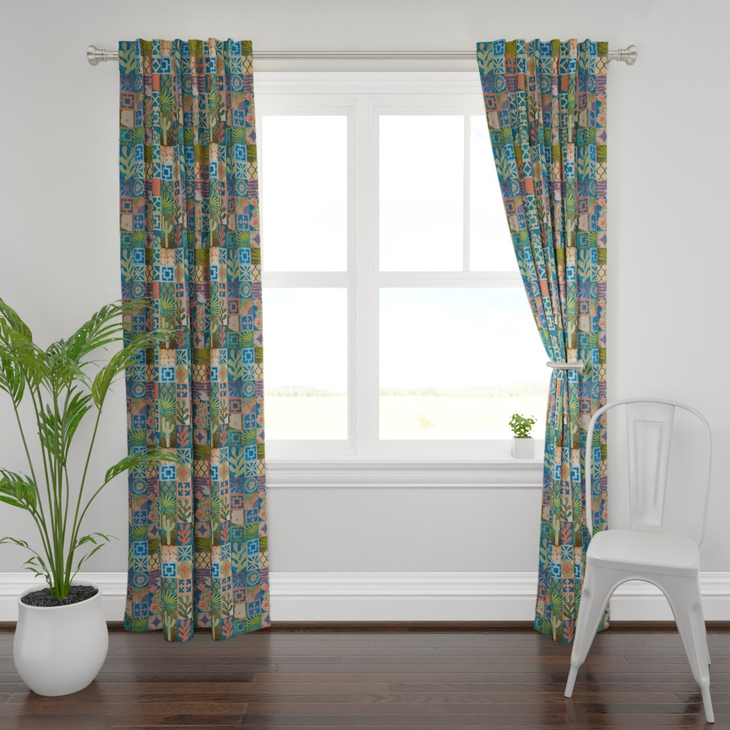 Plymouth Curtain Panel featuring MODERN PHOENIX BLOCK PRINT by honoluludesign