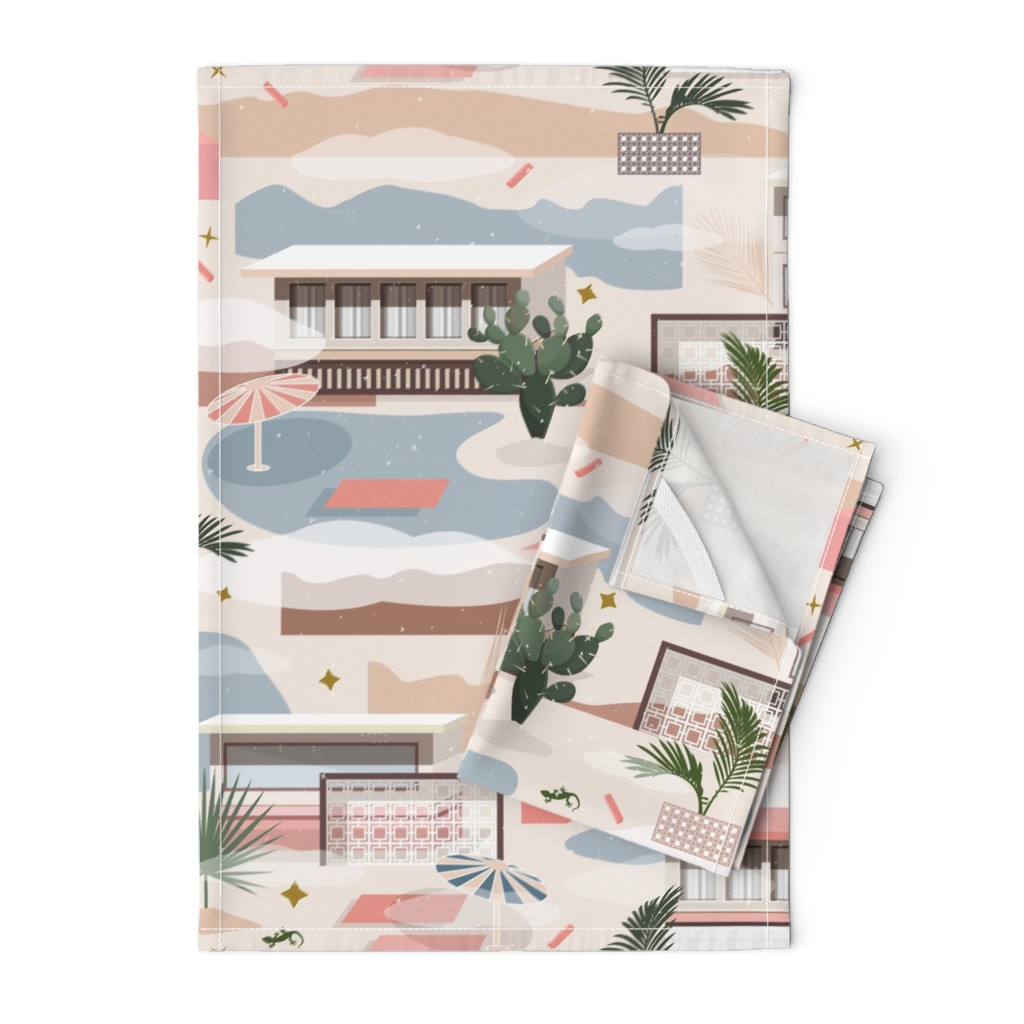 Orpington Tea Towels featuring Modern Oasis / Desert Modernism by evamatise