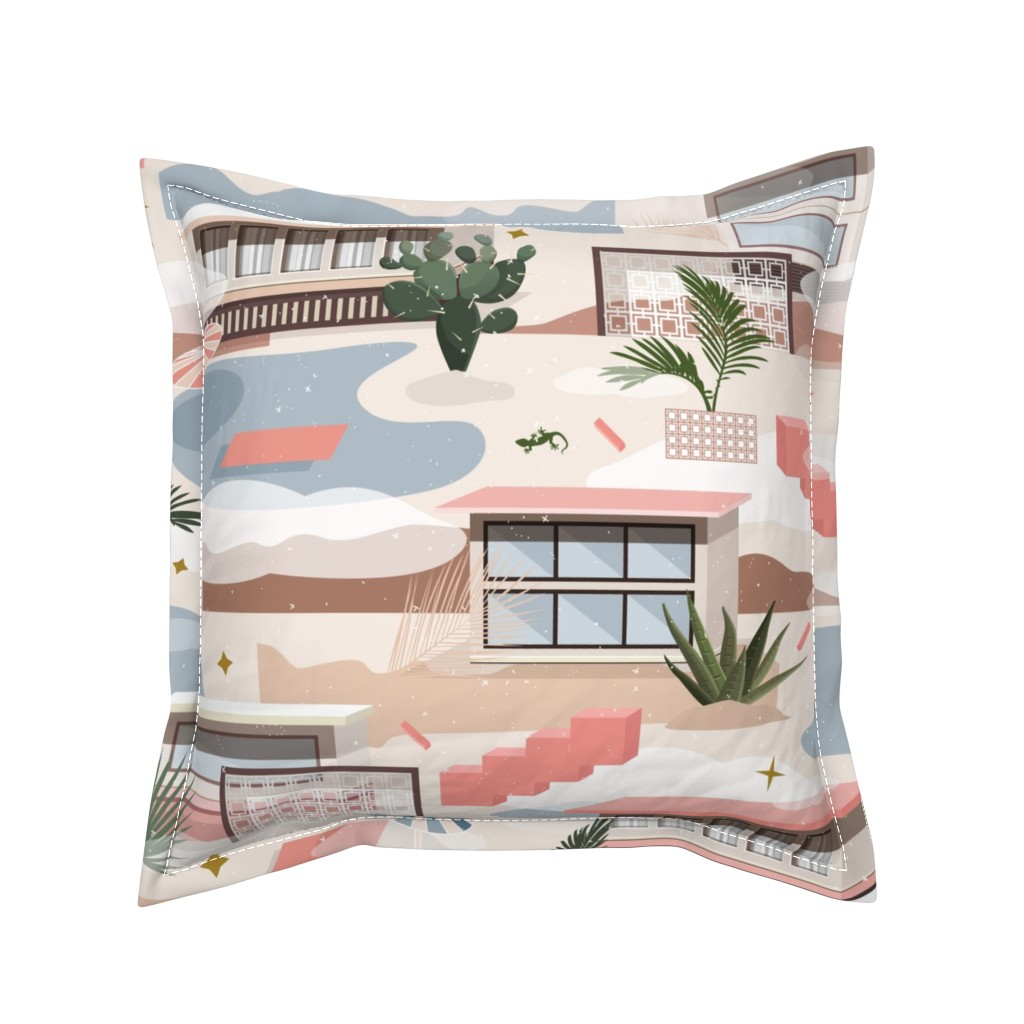 Serama Throw Pillow featuring Modern Oasis / Desert Modernism by evamatise