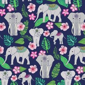 Elephants of the Jungle on Indigo