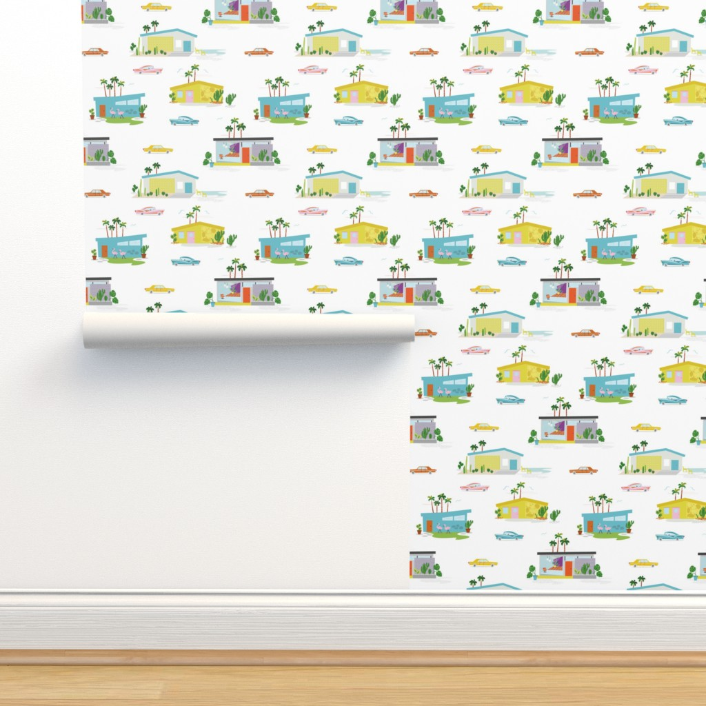 Isobar Durable Wallpaper featuring Palm Springs Style by morecandyshop