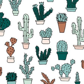 Cactus cacti garden botanical succulent green garden pattern illustration print Mint green brown boys
