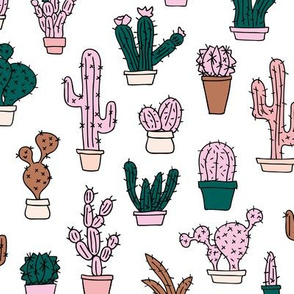 Cactus cacti garden botanical succulent green garden pattern illustration print green pink girls