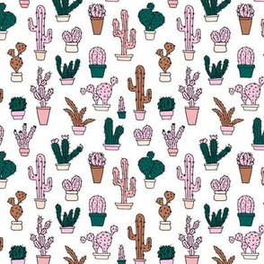 Cactus cacti garden botanical succulent green garden pattern illustration print green pink girls SMALL