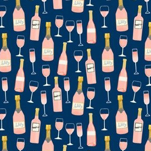 SMALL - rosé all day wine fabric brunch navy