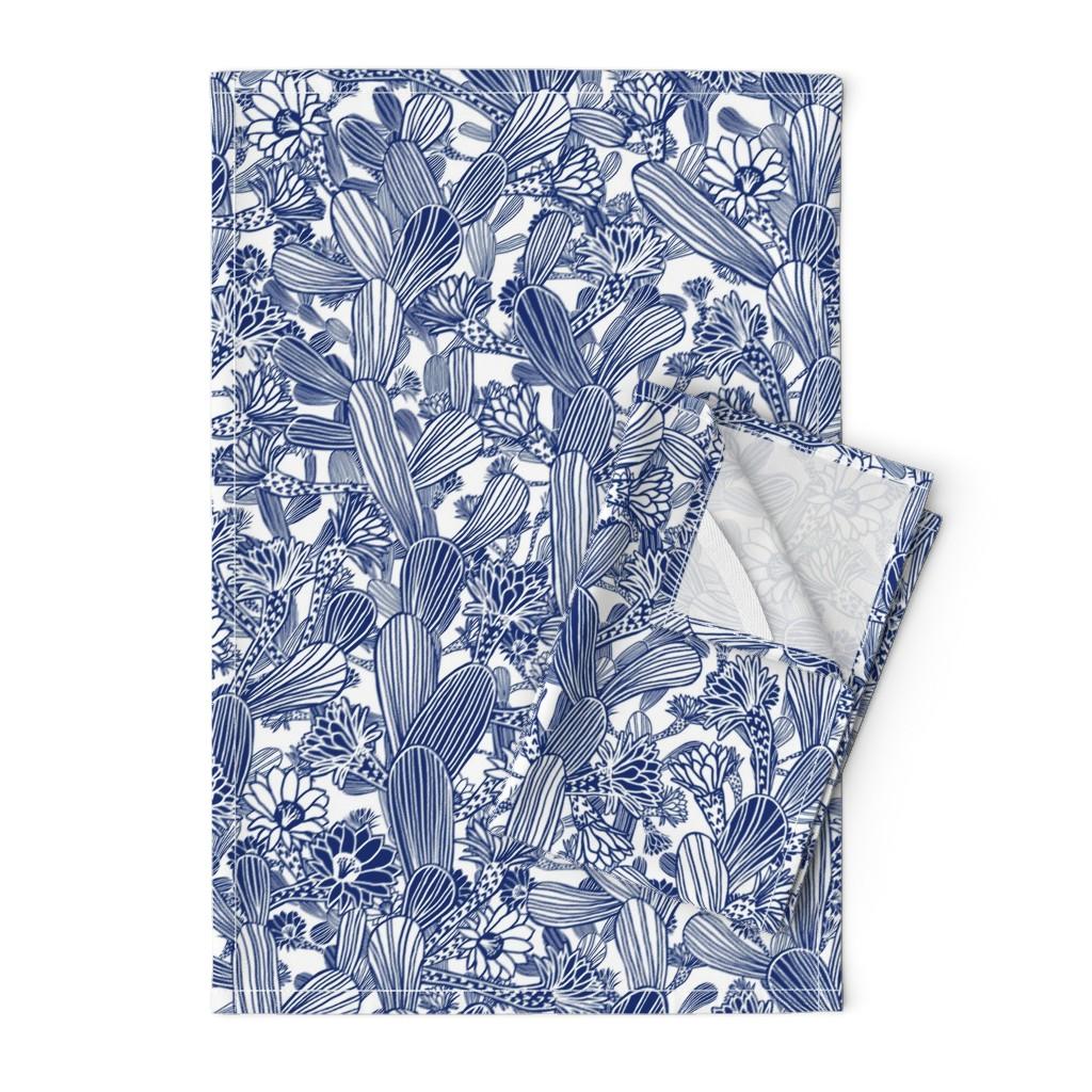 Orpington Tea Towels featuring Modern Desert Flowering Cacti  - LARGE by rubydoor
