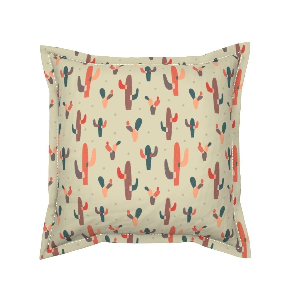 Serama Throw Pillow featuring Modern Colorblock Cactus by arthousewife