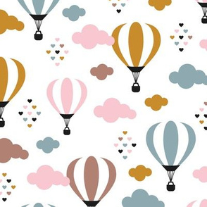 Head in the clouds Scandinavian hot air balloon love sky spring summer pink girls