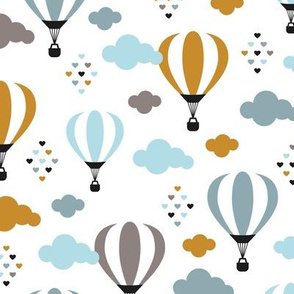 Head in the clouds Scandinavian hot air balloon love sky spring summer gender neutral mustard blue boys