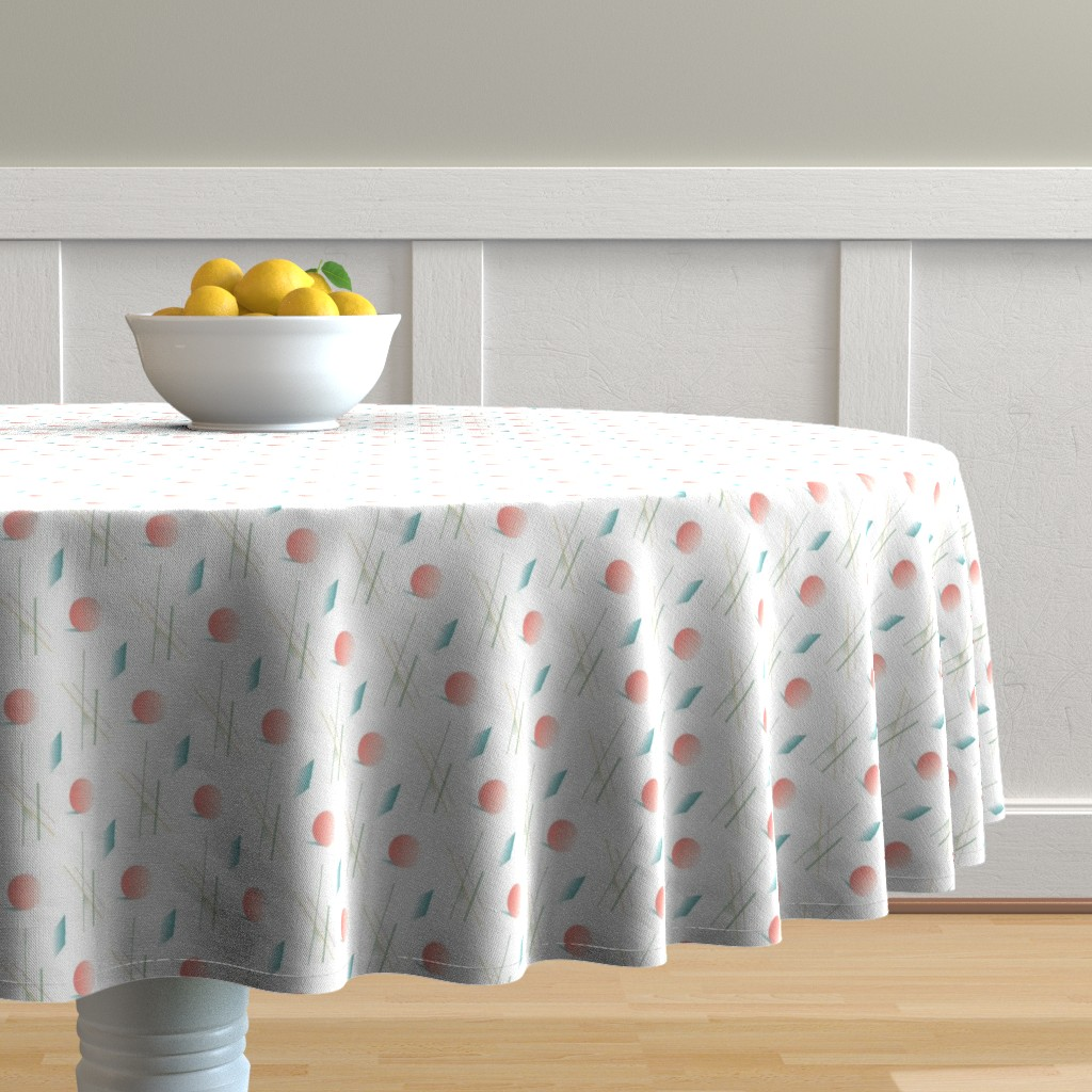 Malay Round Tablecloth featuring Swimming Pools and Coral Suns by autumn_musick