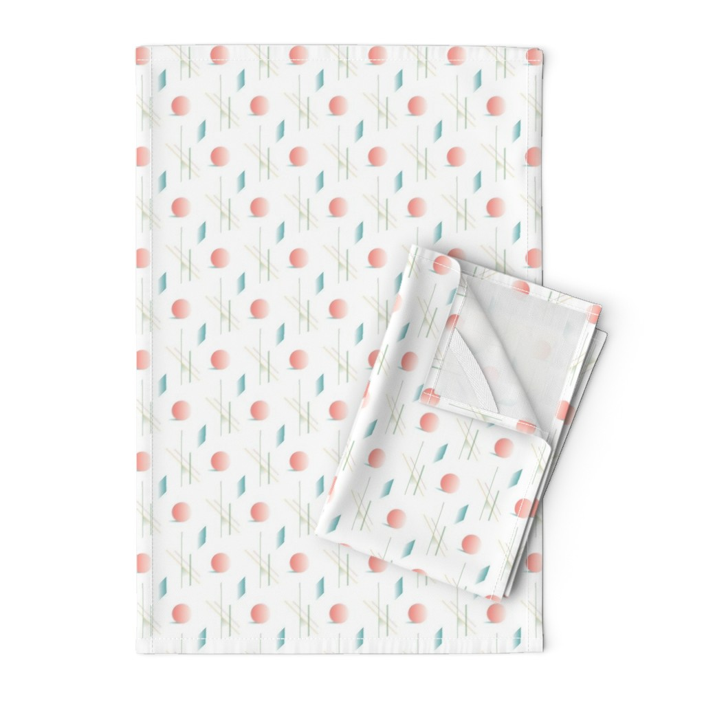 Orpington Tea Towels featuring Swimming Pools and Coral Suns by autumn_musick