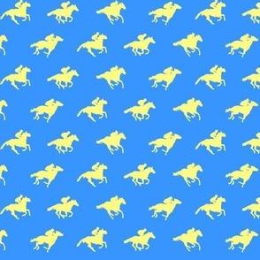 Blue Yellow Race Horses, Tiny