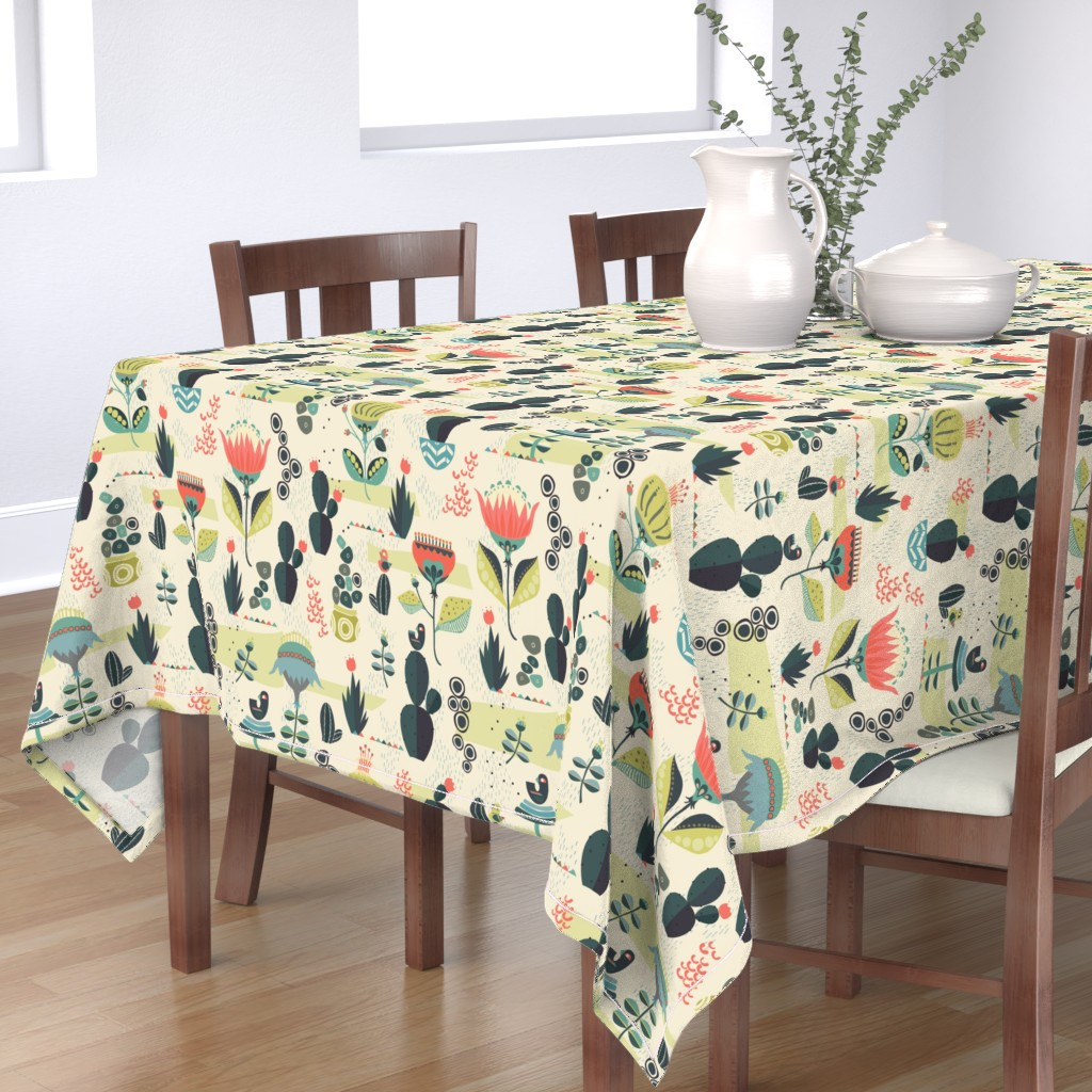 Bantam Rectangular Tablecloth featuring Desert Florals by mint_tulips