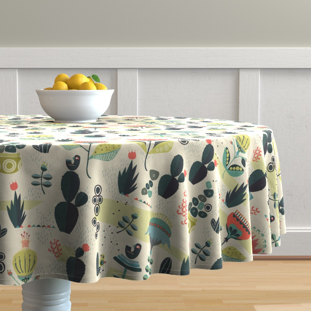 Malay Round Tablecloth featuring Desert Florals by mint_tulips