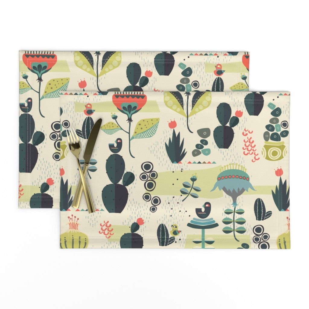 Lamona Cloth Placemats featuring Desert Florals by mint_tulips