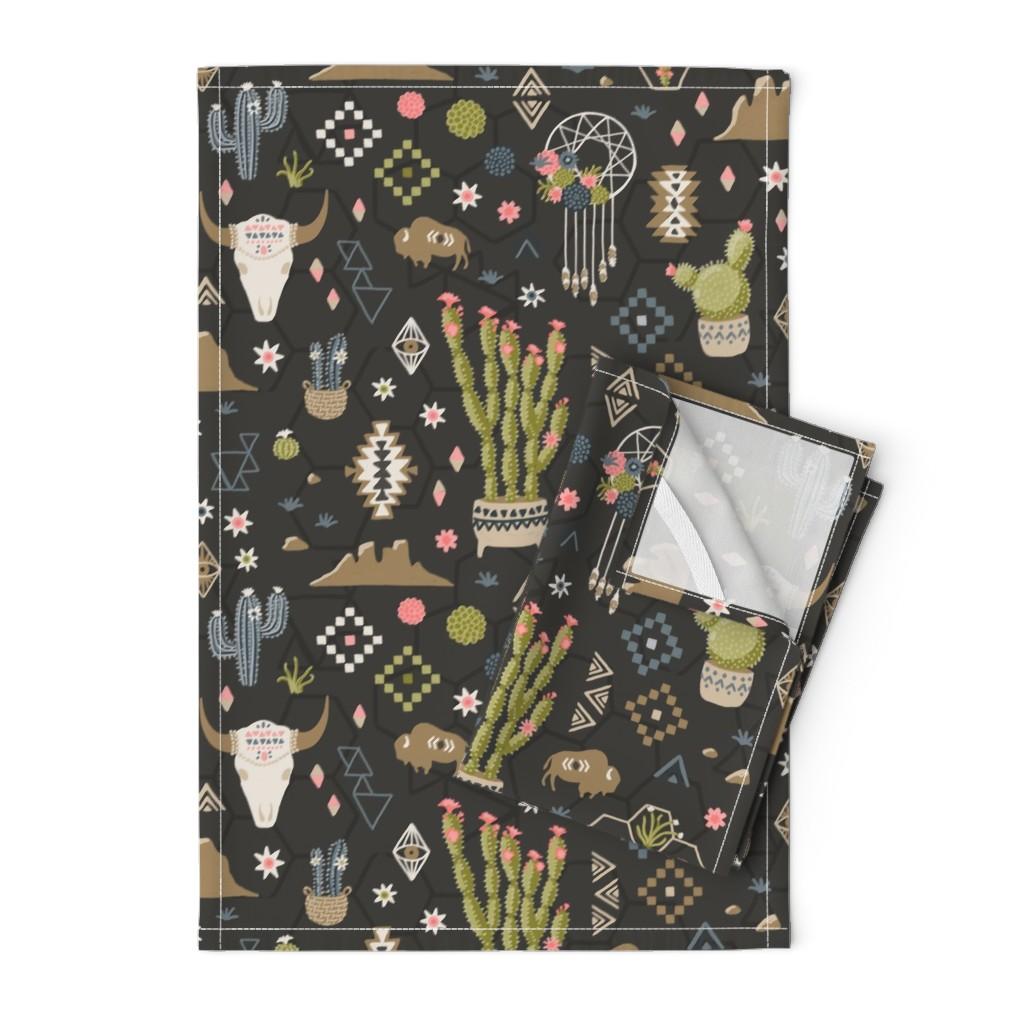 Orpington Tea Towels featuring Boho Southwestern Desert  by bexmorley