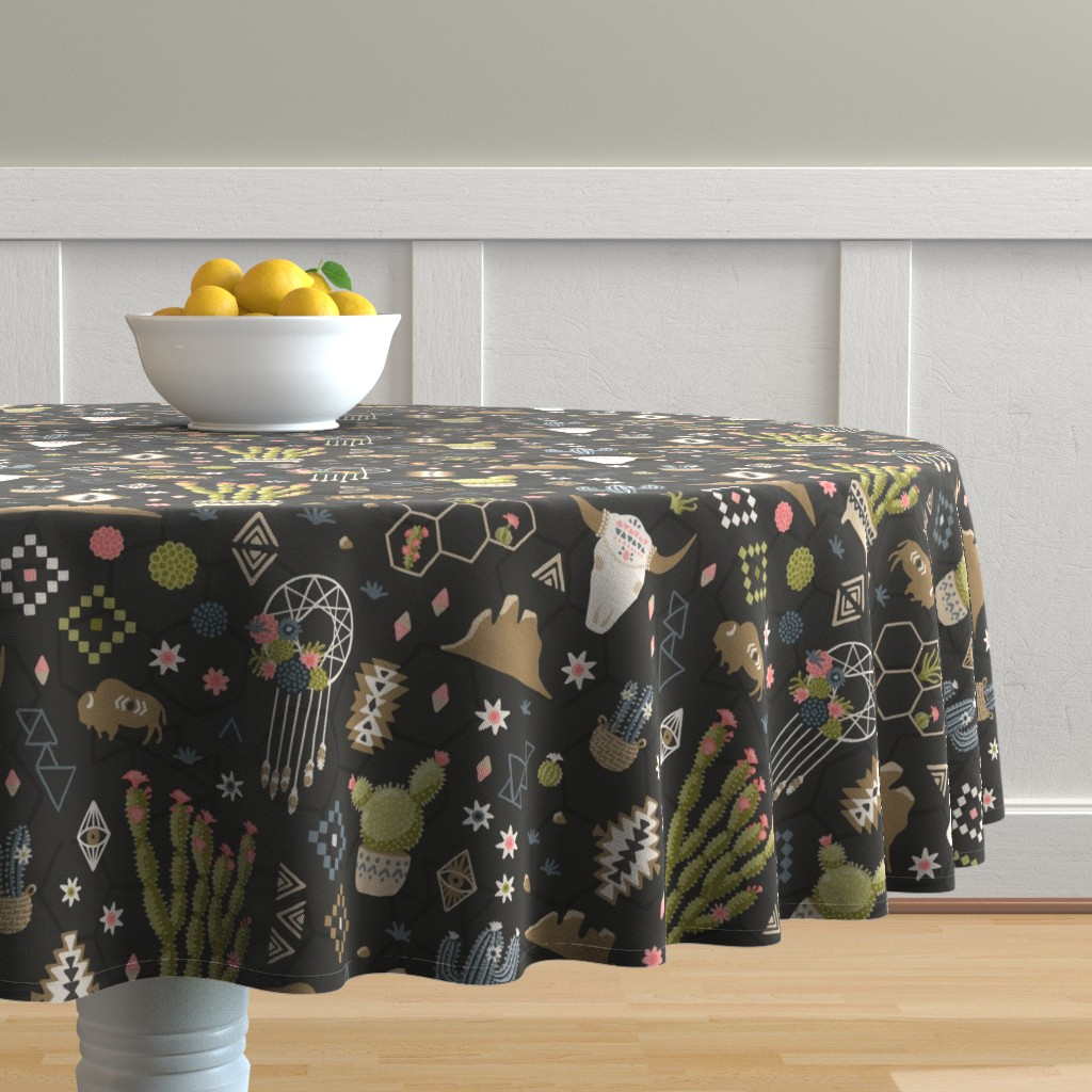 Malay Round Tablecloth featuring Boho Southwestern Desert  by bexmorley