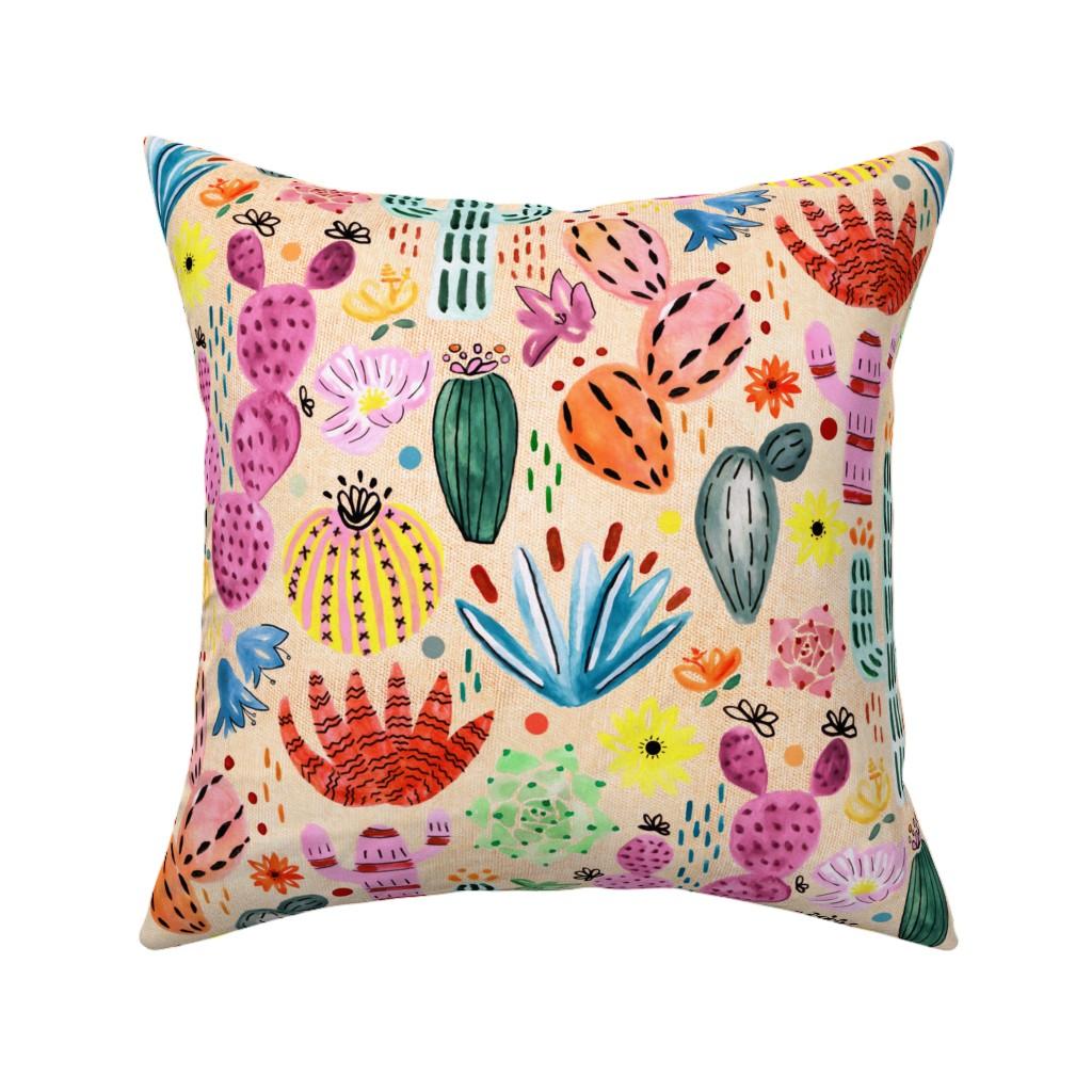 Catalan Throw Pillow featuring Fantasy Cacti  by tigatiga