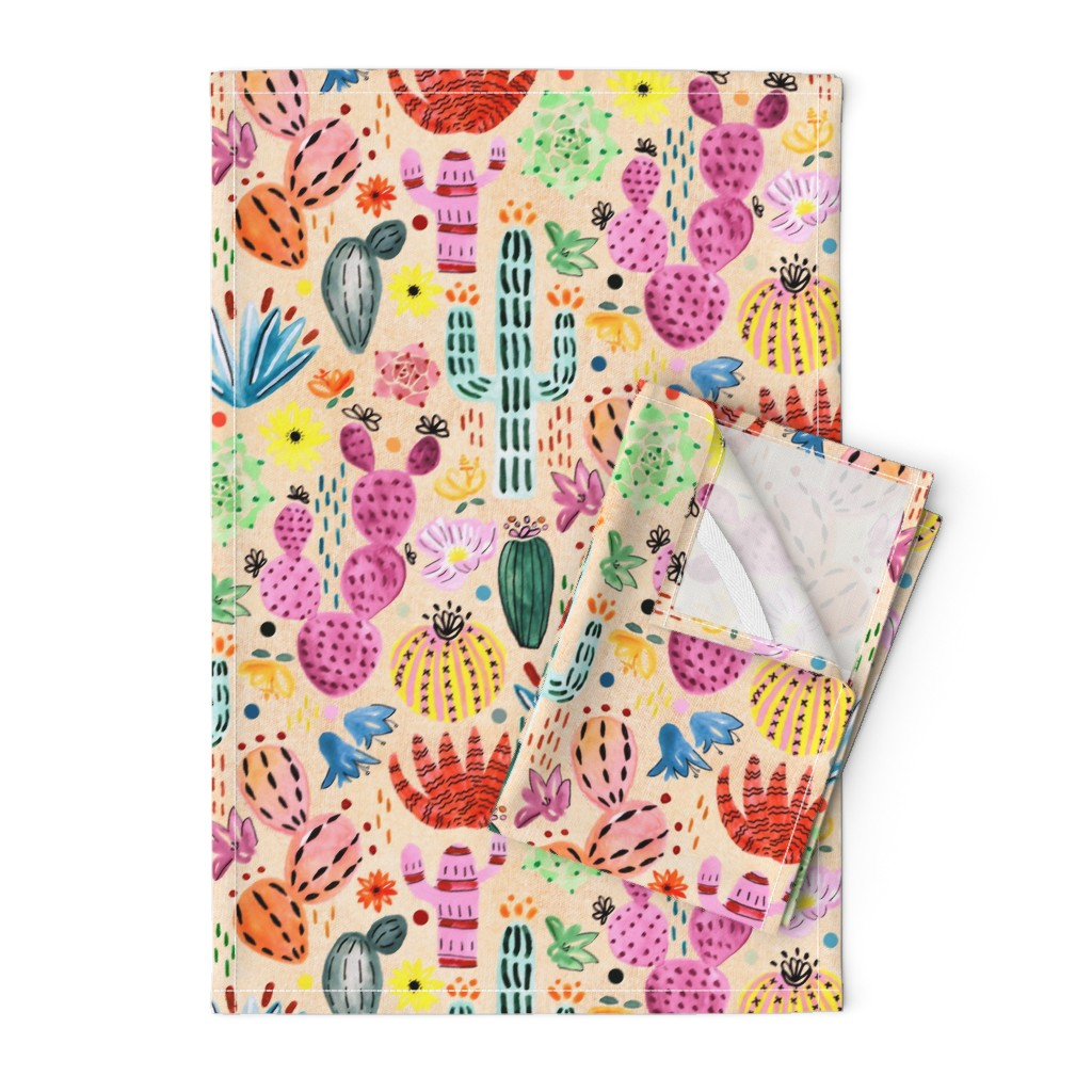 Orpington Tea Towels featuring Fantasy Cacti  by tigatiga