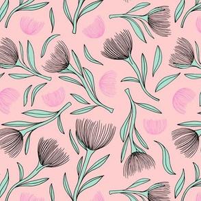 Pohutukawa flower blossom summer swim garden illustration pattern girls pink mint