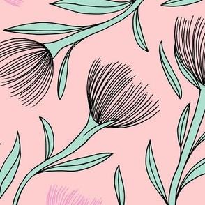 Pohutukawa flower blossom summer swim garden illustration pattern girls pink mint JUMBO