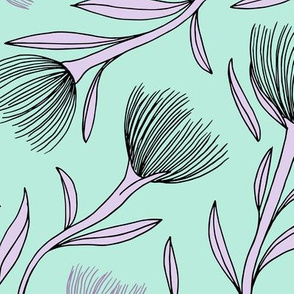 Pohutukawa flower blossom summer swim garden illustration pattern girls mint lilac JUMBO
