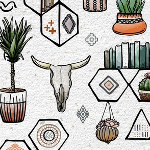Phoenix Plant Lady // Desert Modernism // Mid-Century Modern // Cacti, succulents, plants, trees, skulls, eyes, geometric, mirrors, books, crystals, adobe, hanging plants, patio, scorpion, desert chic