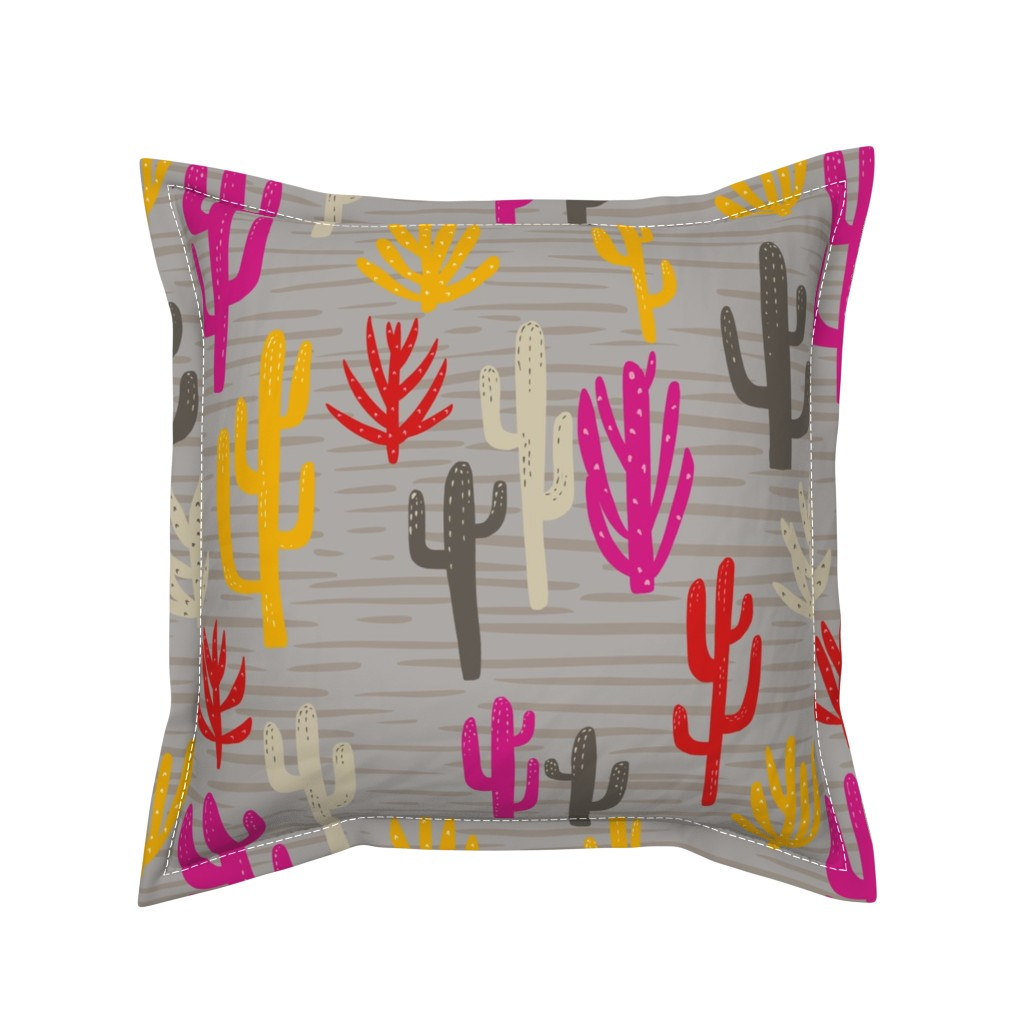 Serama Throw Pillow featuring Modern cactus desert by mrshervi