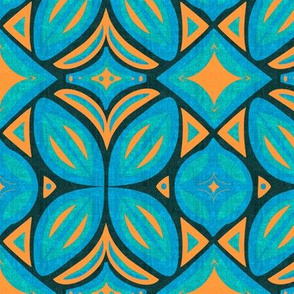 Abstract Bohemian Butterfly in Turquoise Blue and Orange