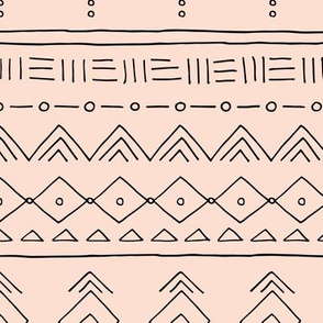 Minimal mudcloth bohemian ethnic abstract indian summer aztec design peach black girls