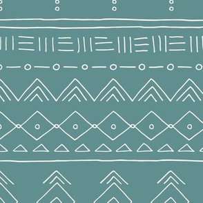 Minimal mudcloth bohemian ethnic abstract indian summer aztec design green teal
