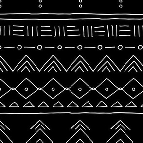 Minimal mudcloth bohemian ethnic abstract indian summer aztec design monochrome black and white