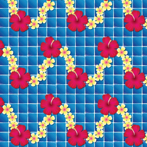 Blue Tropic Tiles with Flowers