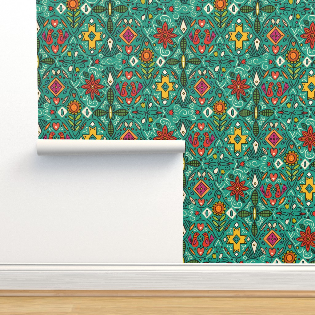Isobar Durable Wallpaper featuring zoryana teal by scrummy