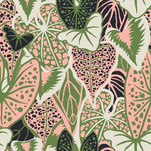 Tropical Foliage (large) - Green/Pink
