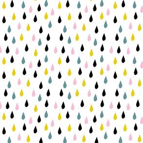 Rain drops rainbow pink yellow blue kids pattern